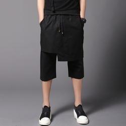 Летние до середины икры Длина брюки для девочек юбка для мужчин Корейский клевый, панк-рок стиль черный