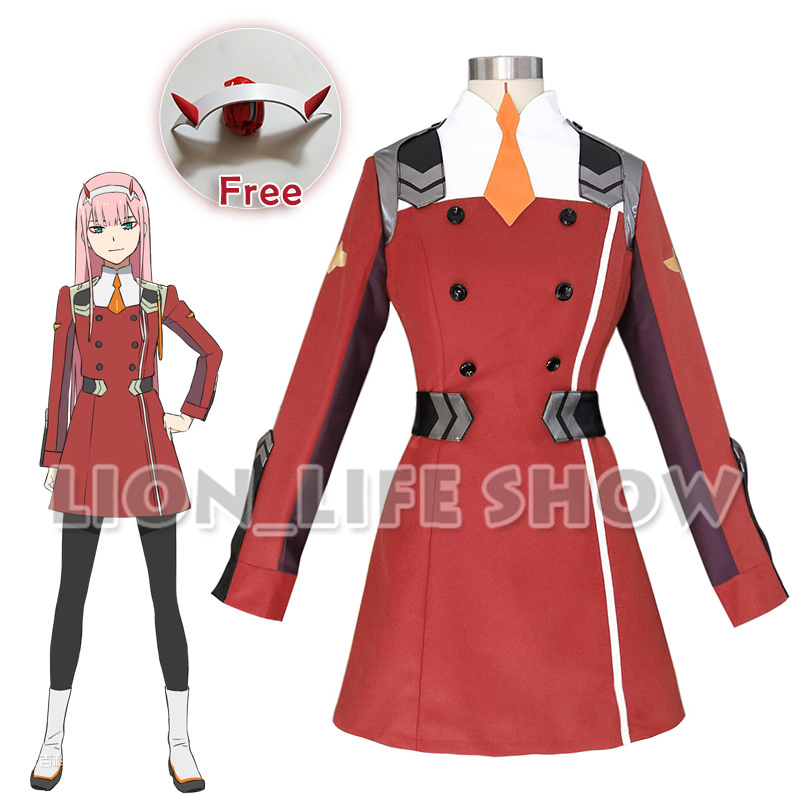 DARLING in the FRANXX ZERO TWO CODE 002 02 Outfit Dress Cosplay Costume Full Set