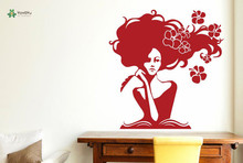 YOYOYU Vinyl Wall Decal Woman In Deep Thought With Flowers Interior Living Room Art Decoration Stickers FD174
