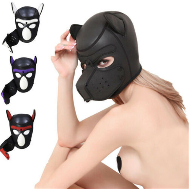 Brand New Latex Role Play Dog Mask Cosplay Full Head Mask with Ears Padded Rubber Puppy Cosplay Party Mask 10 Colors Mujer 2