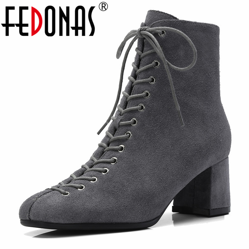 FEDONAS Brand Women Ankle Boots Top Quality Cow Suede Corss tied Ladies Shoes Woman High Heels