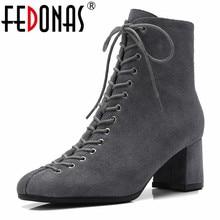 FEDONAS ยี่ห้อผู้หญิงข้อเท้ารองเท้าคุณภาพวัว Suede CORSS ผูกรองเท้าผู้หญิงรองเท้าส้นสูงรองเท้าบู๊ตรถจักรยานยนต์สำนักงานปั๊ม