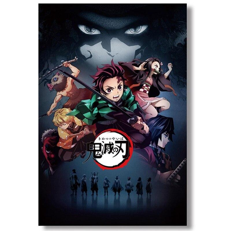 HTB1DebqXXP7gK0jSZFjq6A5aXXaP Japanese Anime Demon Slayer: Kimetsu no Yaiba Kamado Tanjirou Kamado Nezuko Wall Scroll Poster Wall Hanging Poster Home Decor