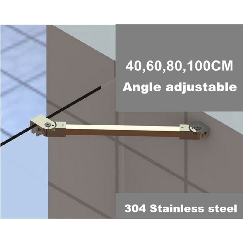 Chrome Frameless Shower Door Fixed Panel Wall-To-Glass Support Bar for 1/4 to 3/8 Thick Glass 10 12mm thick frameless glass door bolt latch latches with thumb turning thumbturn boring free latch to glass panel