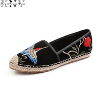 Women S Genuine Suede Leather Slip On Loafers Brand Flats Flowers Embroidery Ballerinas Comfortable Moccasins Shoes