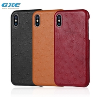 GXE Luxury European Ostrich Pattern High Quality Soft Genuine Leather Magnetic Adsorption Fitted Back Cover Case