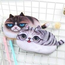 2017 Kawaii Pencil Case Simulation cat flannel School Supplies Bts Stationery Gift Estuches Cute Box Bag