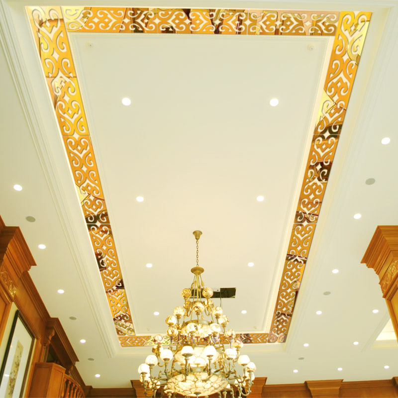 Stereoscopic wall sticker waist line skirting living room ceiling decoration TV background acrylic mirror in Wall Stickers from Home Garden