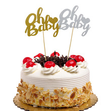 Cake Topper Flags Oh Baby Glitter Cupcake Toppers Bride Kids Happy Birthday Wedding Wrapper Party Baking DIY Xmas