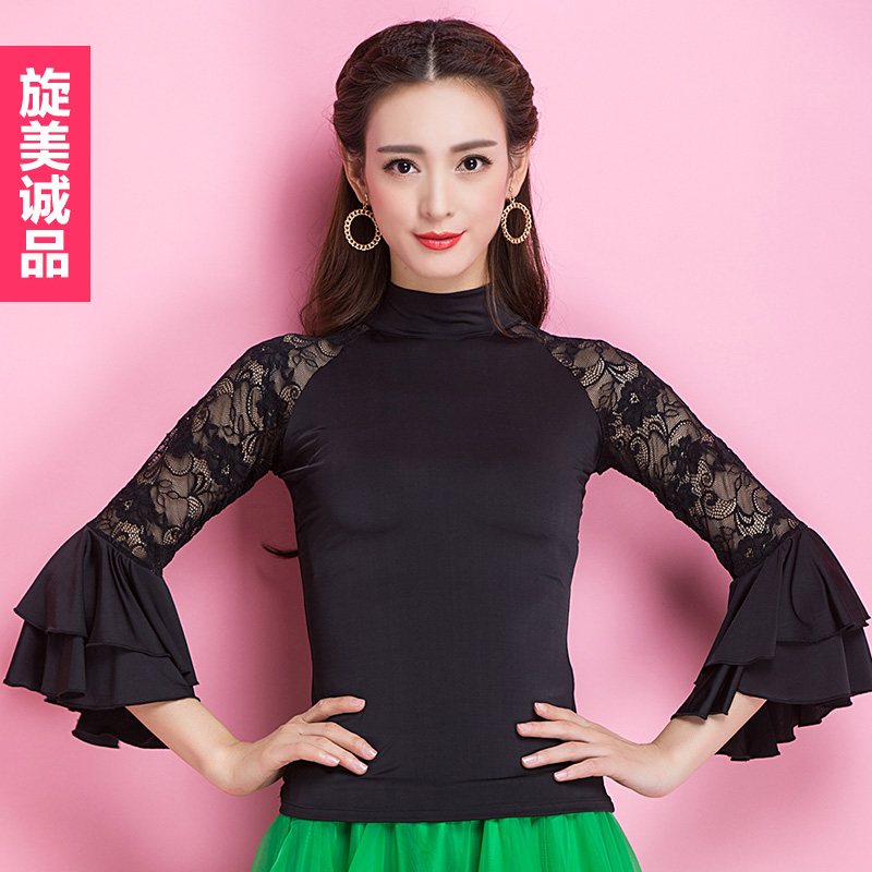 72ac1d64a3a 2018 Fashion Ballroom Black lace Short sleeve sexy modern Latin dancing  clothing top for women female girl