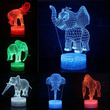 Color Changeable Elephant Gorilla LED 3D Visual Illusion Night Light Creative Table Decoration Novelty Desk Lamp Kids Gift