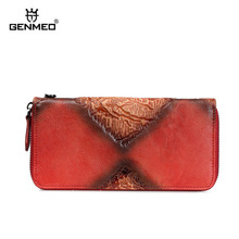GENMEO Brand New Arrival Genuine Leather Zipper Wallet Women Coin Purse w 3D Pattern and Cow Hand Strap Bolsa Feminina