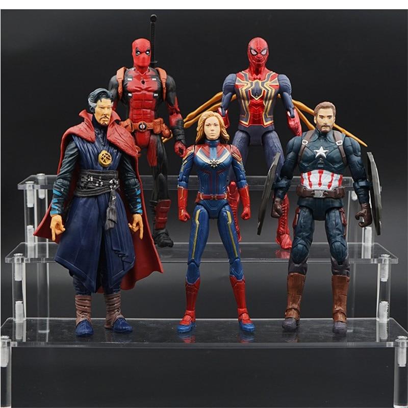 14 cm la galaxie Marvel Avengers Super héros Thanos Docotor étrange capitaine Marvel fer Spiider homme figurine modèle jouets