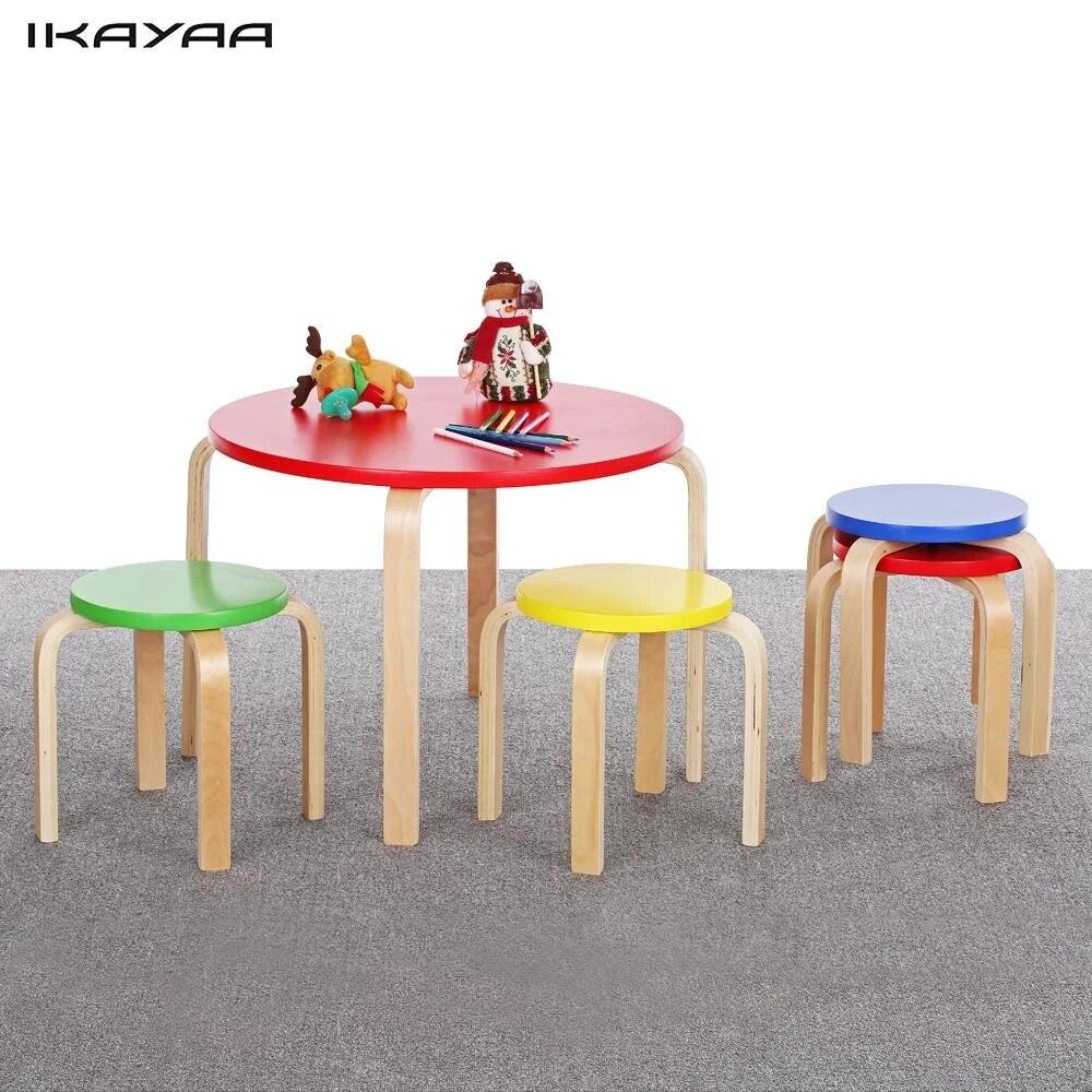 Ikayaa Stati Uniti Stock Bambini Sedia Set Tavolo Di Legno Rotondo Per Bambini Tavolo 4 Sedie Set Di Mobili 50 Kg Carico Toddler Bambini Tavolo Set Table Mould Table Top High Chairtable Chair For