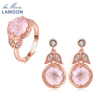 LAMOON Cute Jewelry Sets For Women Drop Earrings Ring 100% Natural Pink Rose Quartz 925 Sterling Silver Rose Gold Plated V023 4