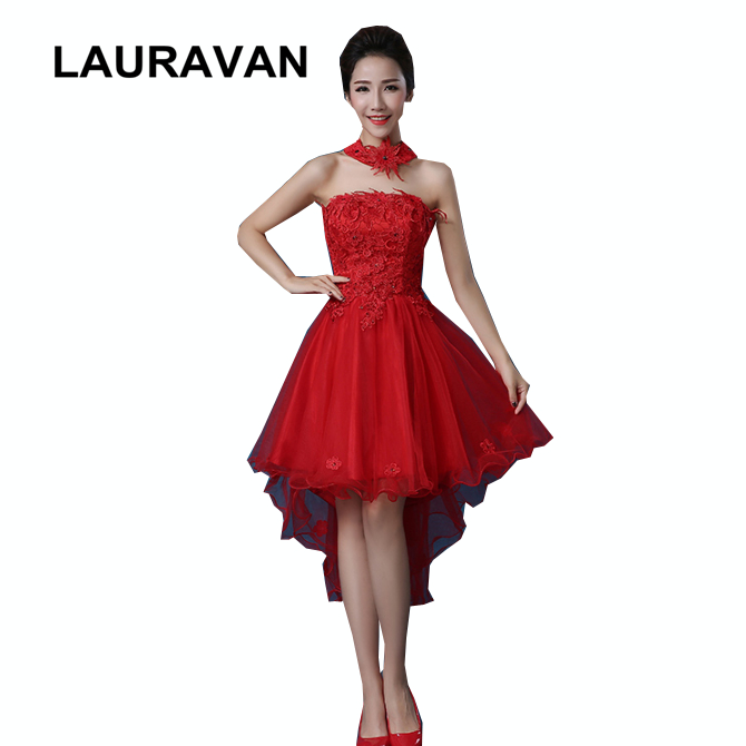 New Trend Red Ivory Strapless Sweetheart Girl Teen Bridesmaid Dress Short Front Long Back High Low Lace Bow Dresses 2020