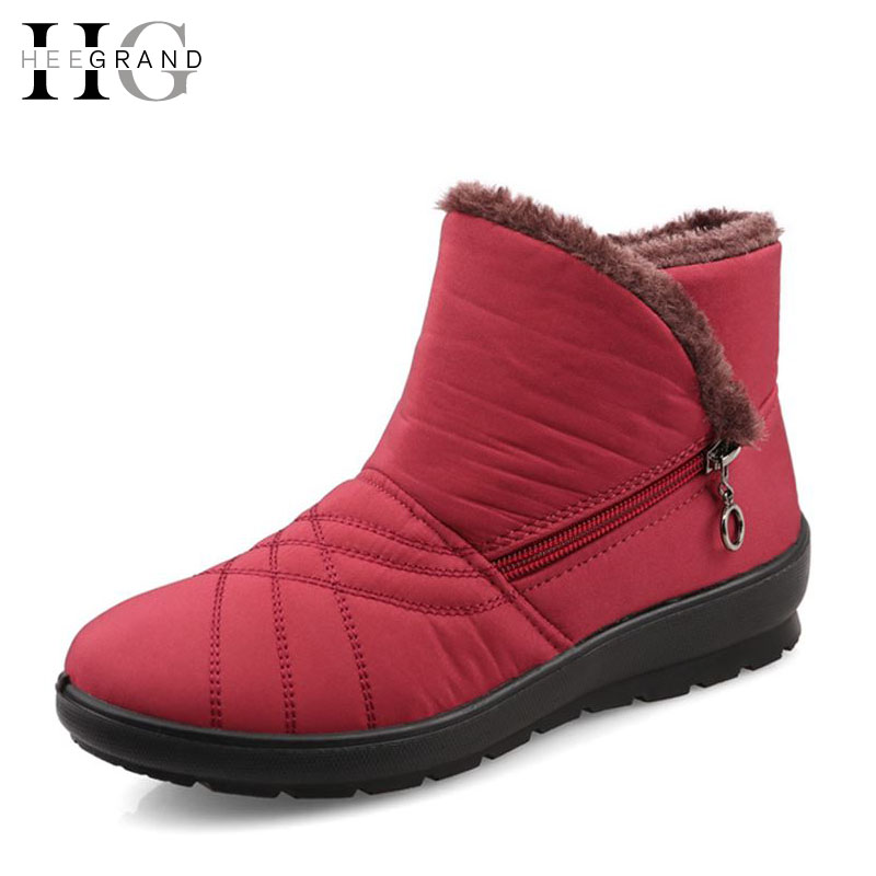HEE GRAND Women Winter Boots Platform Snow Shoes Woman Waterproof Slip-resistant Maternity Cotton-padded Winter Boots XWM118 hee grand women snow boots winter flat panda pattern shoes woman fur cotton slip on snow ankle boots size 35 40 xwx4498