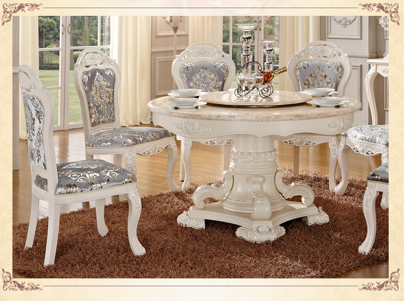 Luxury wooden ding table and chair, white color dining sets ...