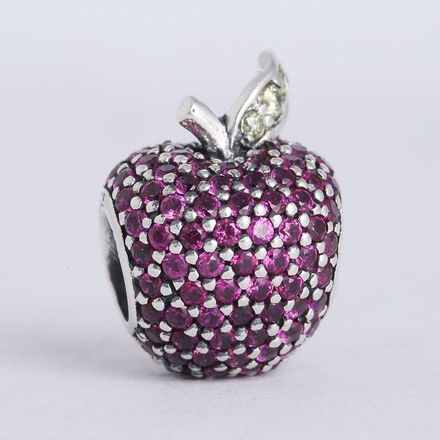 2bb370ed2ead New Spring collection 925 sterling silver pave apple charms with fancy red    light green cz Suitable for Pandora Charm Bracelets