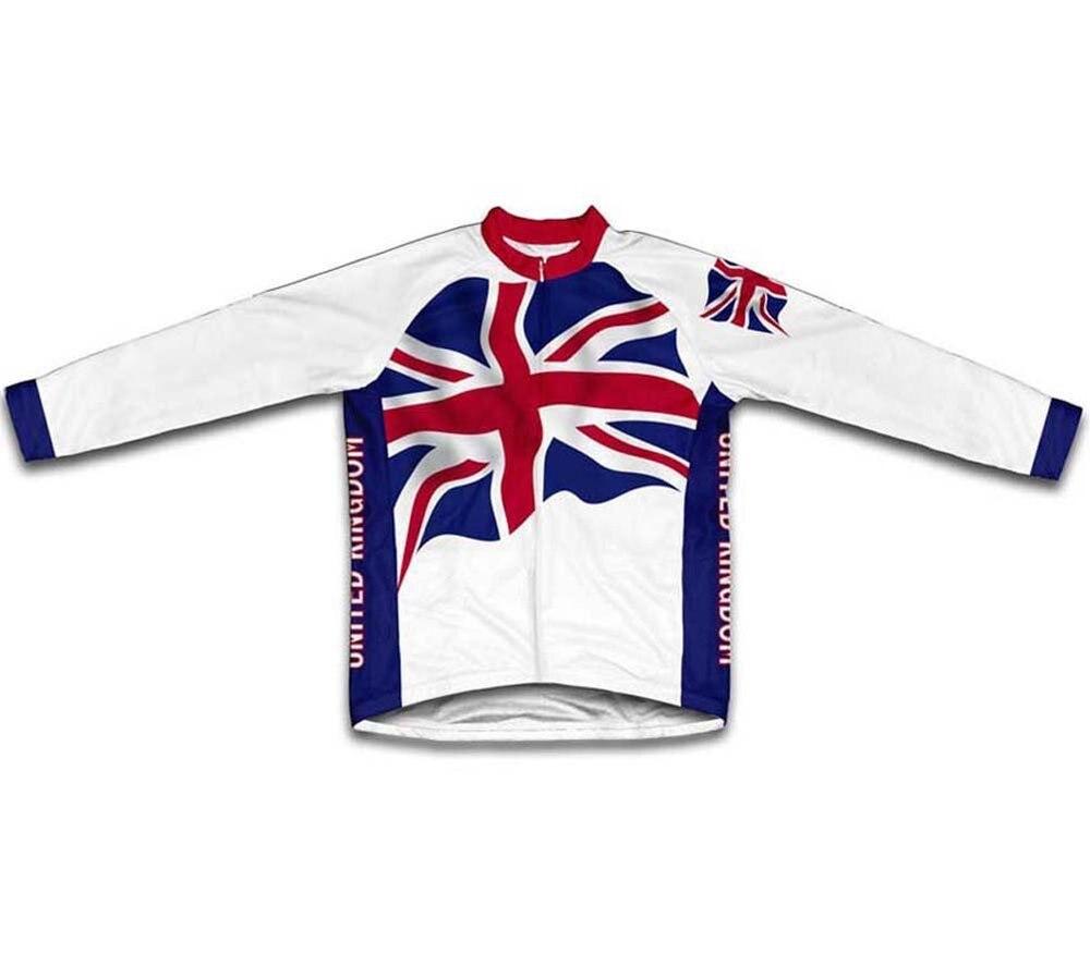 Флаг Великобритании Велоспорт Джерси с длинными рукавами Зимняя Теплая Флисовая одежда для велоспорта/одежда зимние велосипедные рубашки/майки - Цвет: United Kingdom Flag