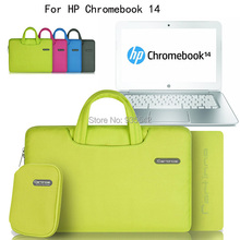 "For HP Chromebook 14 series/ Pavilion 14 14-c010us 14"" Laptop Deluxe Oxford Cloth Handle Carrying Sleeve Case Bag w/Pouch(China)"
