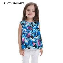 LCJMMO New 2017 Summer Fashion Girls Cotton Sleeveless T-shirt Cute Print Camouflage Girl Top T-shirts Kid Children Clothing