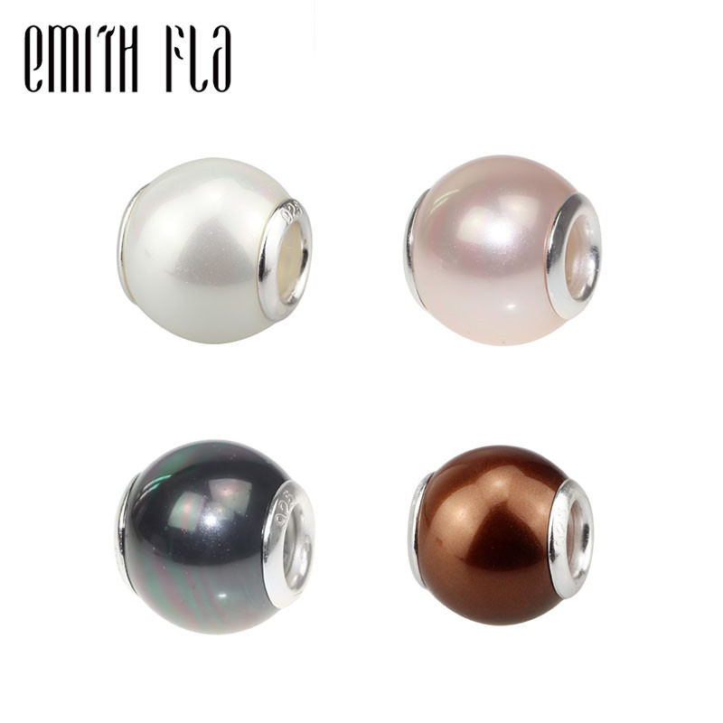 Authentic 925 Sterling Silver Colorful Pearl Charm Bead White Pink Black Brown Fit European Brand Bracelet DIY Jewelry