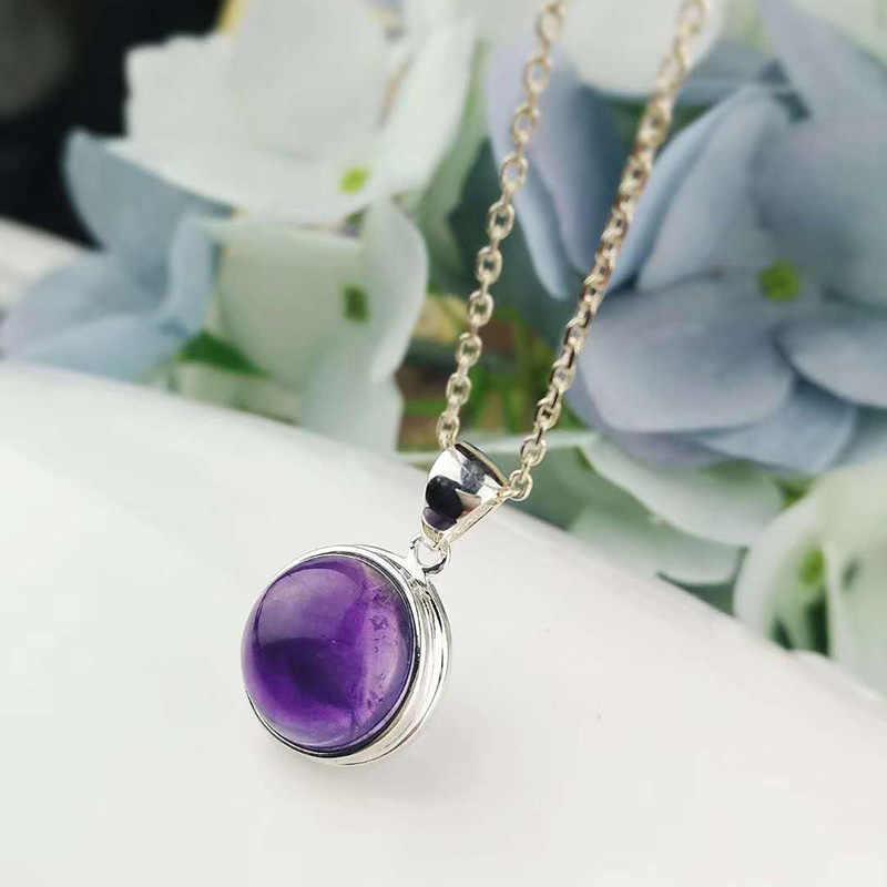 Настоящее чистое серебро 925 аметистовая Подвеска для женщин с натуральными камнями простой элегантный кулон ювелирные изделия