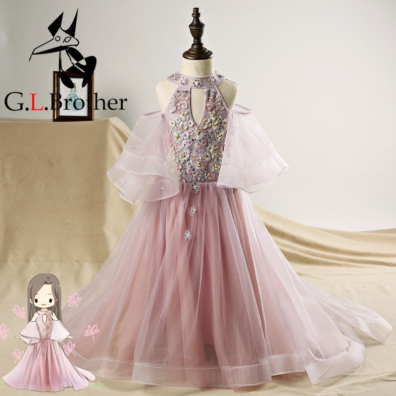 Halter Flower Girl Dresses For Wedding Flare Sleeve Small Trailing Holy Communion Dress Lace Up Backless Princess Prom Dress