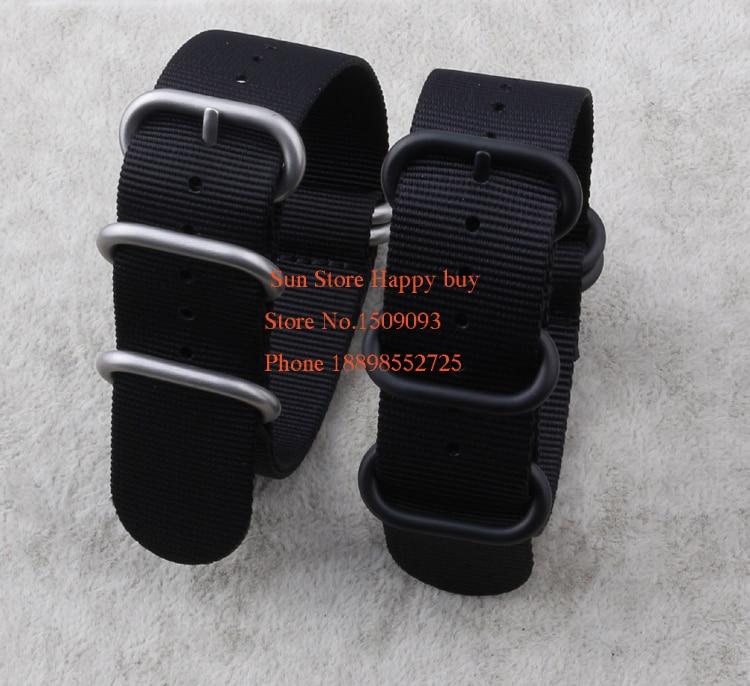 Prix pour En gros! Nylon Plongeur Strap Band Bracelet Ceintures Noir 5-ring 18 20 22 24 26mm Zulu L'otan Bracelets vente Chaude