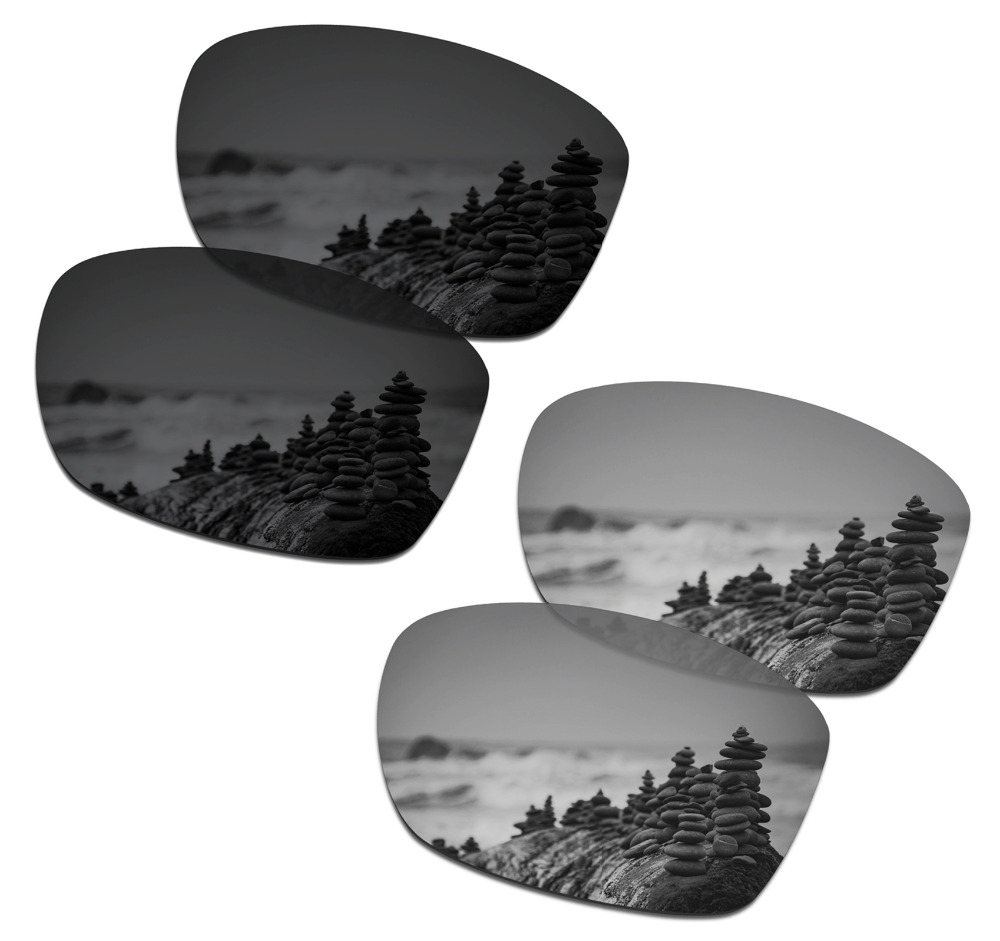 SmartVLT 2 Pairs Polarized Sunglasses Replacement Lenses for Oakley Jupiter Squared Stealth Black and Silver Titanium