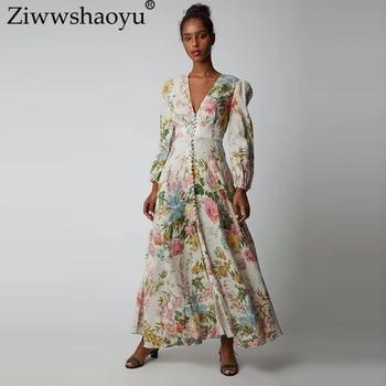 3d940a27b0 Ziwwshaoyu vacaciones playa con cuello en V profundo vestido lazo manga  Puff Sexy vestidos 2019 primavera y verano nuevo mujeres