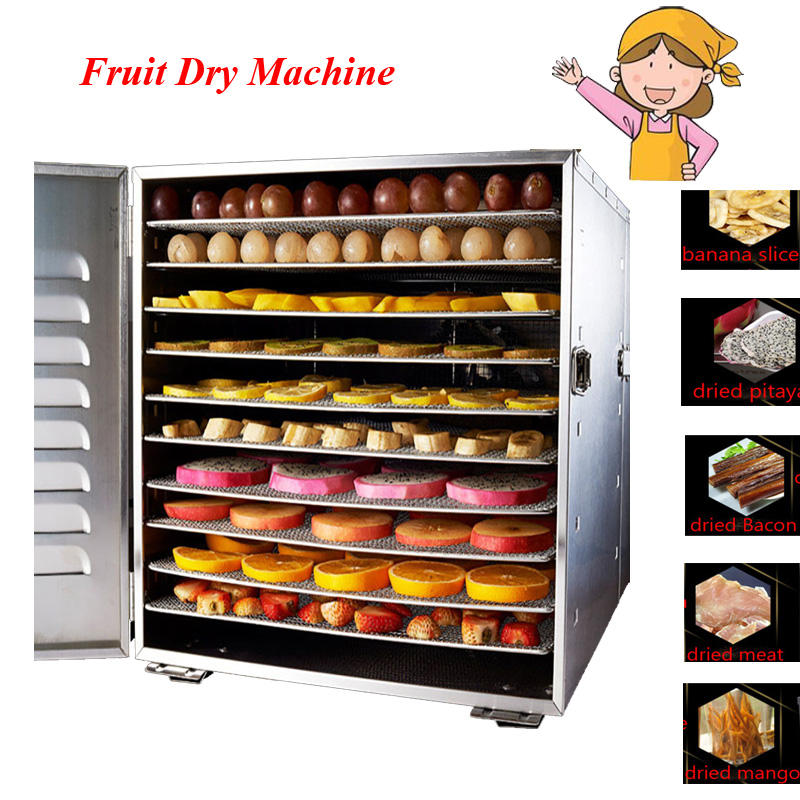 Household 10 Tray Stainless Steel Nuts Dry Machine Fruits and Vegetables Dehydration Drying Machine Pet Food Dryer cukyi household electric multi function cooker 220v stainless steel colorful stew cook steam machine 5 in 1