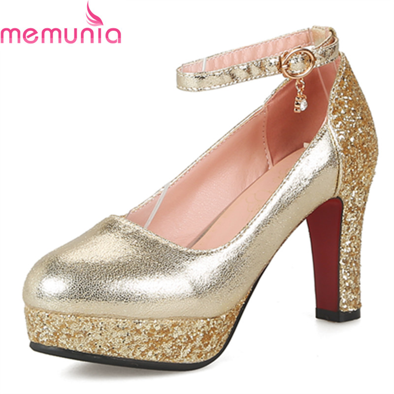 MEMUNIA big size 34-43 2018 spring autumn fashion women pumps thick high heels round toe platform buckle bridal shoes memunia 2017 fashion flock spring autumn single shoes women flats shoes solid pointed toe college style big size 34 47