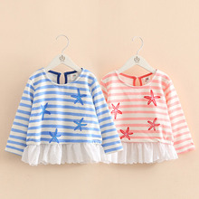 Kids Striped Hoodies 2016 Fall Kroean New Girls Little Starfish O-Neck Pullover Coats Casual Pretty Cute Children's Clothing