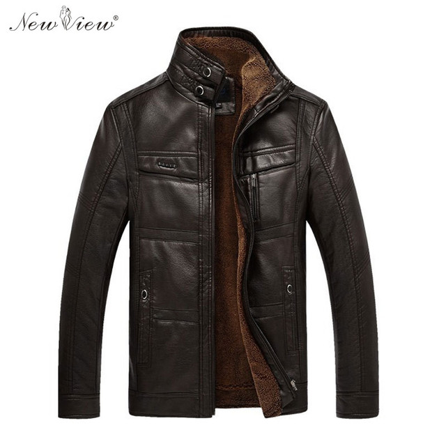 Leather Jacket Winter Autumn Thick Warm Fur Coat Men Mandarin Collar Motorcycle PU Leather Parka Plus Size 4XL Jaqueta De Couro