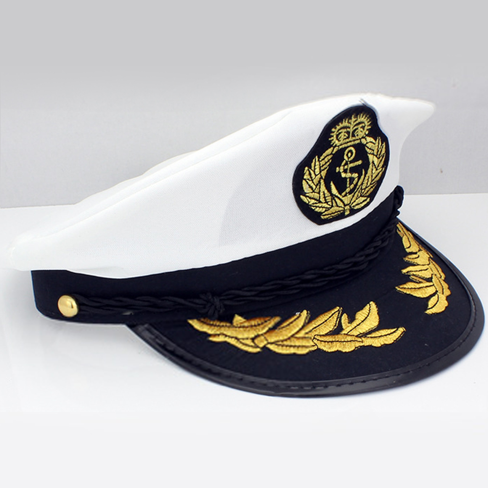 7877dc701da97 White Yacht Captain Navy Marine Skipper Ship Sailor Boat Captain Hat  Military Nautical Cap Costume Adults Party Fancy Dress-in Boys Costume  Accessories from ...