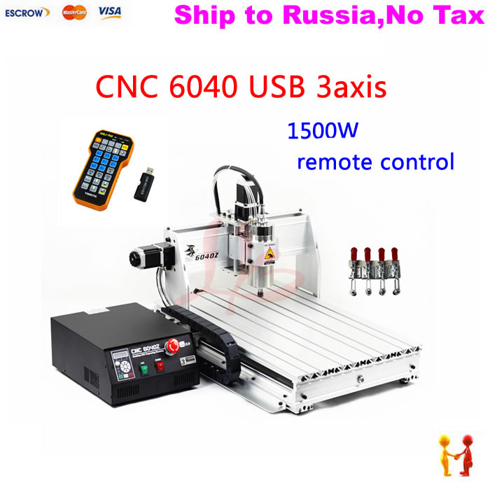 (no tax to russia) high precision china cnc machine 6040 3axis usb with 1.5kw vfd water cooling spind
