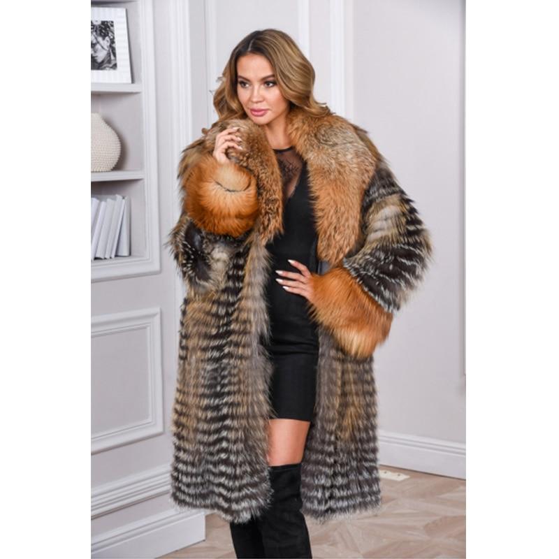 Manchette Femmes De Plus D'hiver Taille Fursarcar Renard Avec Col Et Real Fourrure Manteau Personnaliser Naturelle La Or Luxury lFJKT1c3