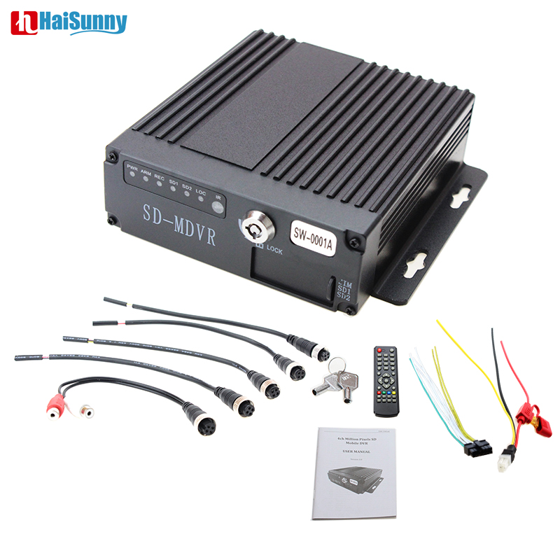 HaiSunny 4CH AHD 720P Car HDD MDVR Sd Truck Video recorder support AV/VGA Fit for Bus/truck parking system/Vehicle monitoring