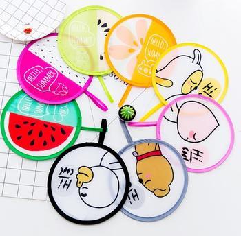 Cartoon Foldable Hand Fan Decorative Fans Party Decor Ice Cream Design Pattern For Children Gift Cool Nylon 2