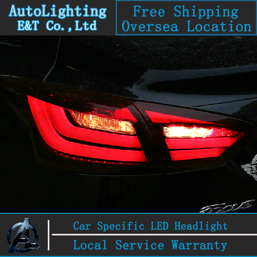 Auto Lighting Style LED Tail Lamp for Ford Focus3 Sedan led tail lights BMW Style drl rear trunk lamp cover signal+brake+reverse high quality chrome tail light cover for ford focus mk3 sedan 12 13 free shipping