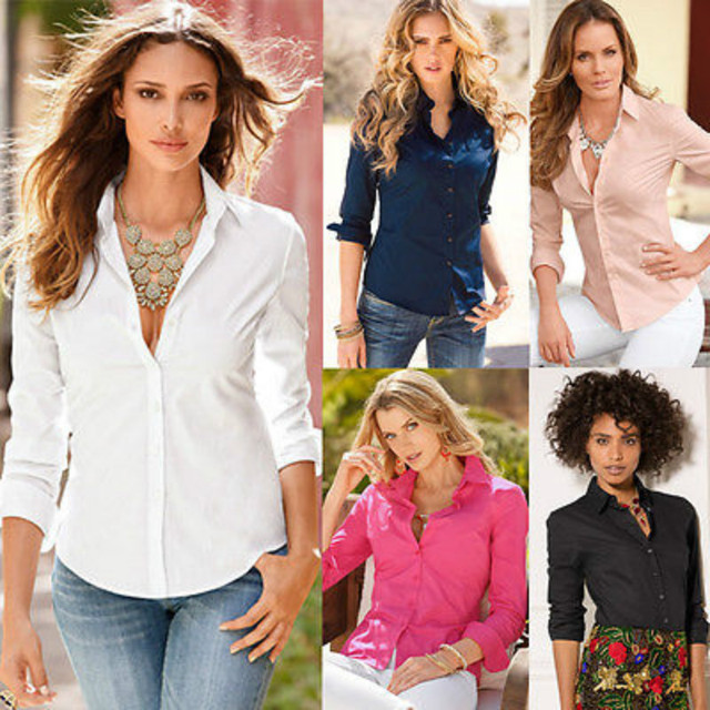 Sexy Women Lapel Blouse Long Sleeve Ladies Top Shirt Loose Lace ...