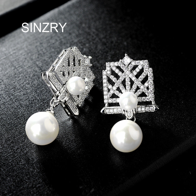 SINZRY Luxury cubic zircon hollow grill drop earrings elegant imitation pearl earrings brilliant jewelry accessory