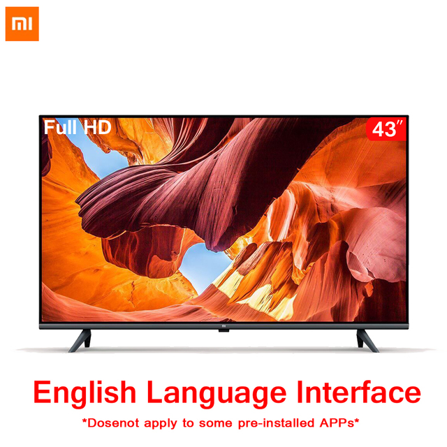 Original Xiaomi Tv 43 inches E43A Borderless Full HD Screen TV Set 1GB+8GB Memory Anti-Static AI Voice Control Dolby Sound DTS