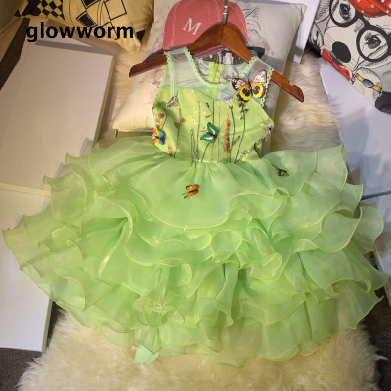 цена на GlowwormKids Girls Dress Embroidery Butterfly Birthday Party Dress 2018 New Runway Green Sleeveless Children Clothing 5-8T hs062