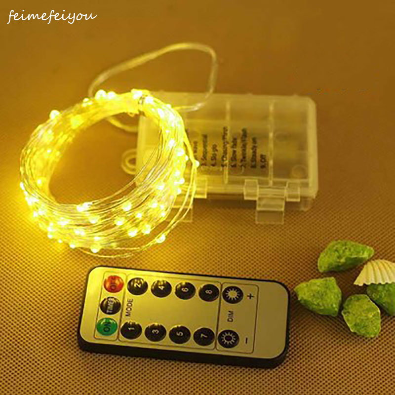 5M 50LED Copper Wire Light String Battery Power With Remote Control Fairy Lights String Wedding Christma Holiday Decor Lighting