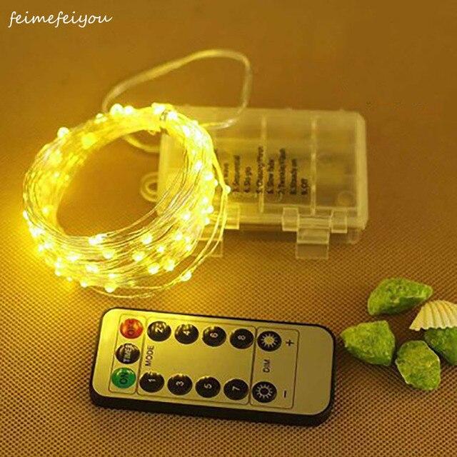 5M 50LED Kupfer Draht Licht String Batterie Power Mit Fernbedienung Fee Lichter String Hochzeit Christma Urlaub Dekor Beleuchtung