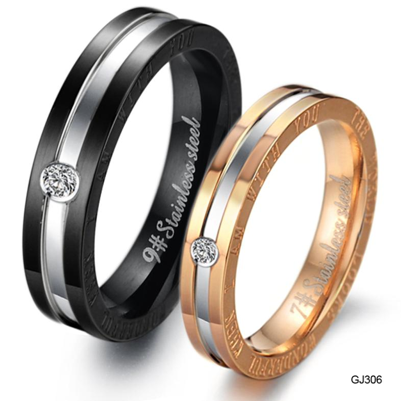 egyptian jewelry rhinestone titanium steel couple ring engagement ring bands gold and black gj306 - Egyptian Wedding Rings
