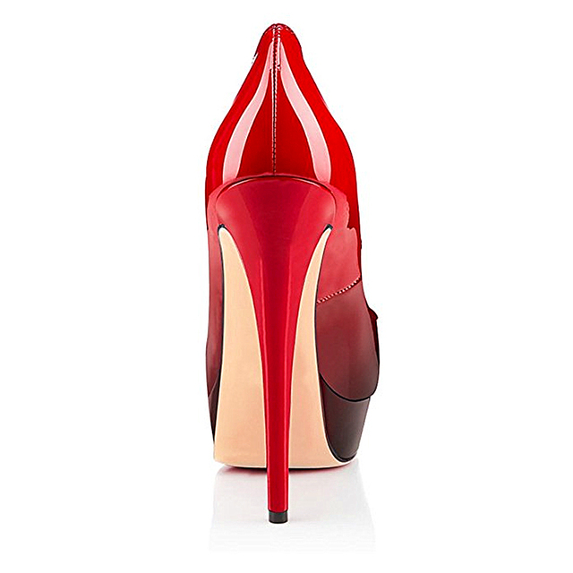 MIUINCY Shoes Women High Heels Fashion Women Pumps Lady Sexy Open Toe Wedding Shoes High Quality Patent Leather Platform Shoes
